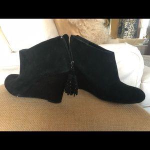 """LOFT black suede wedge bootie 3"""" heel"""